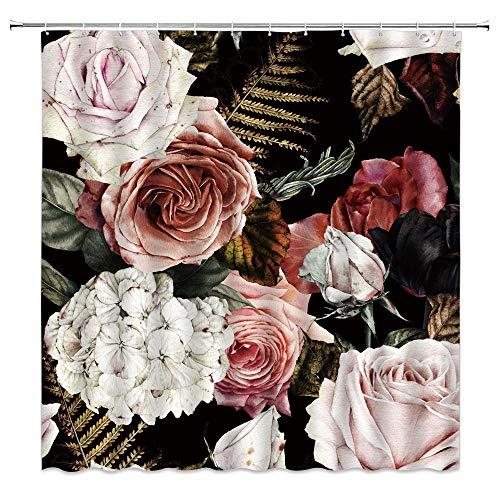 Landschafts-Duschvorhang, Winter, Schnee, Löwe, Wildtier-Tinte, Kunstdruck, Frühlingsblumen Ozean, Wellen, Badezimmer, Dekoration, Gardinen aus Polyester, mit Haken Blau schwarz/pink