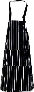AvoDovA Noir Tablier de Cuisine pour Homme Femme, Tablier Réglable avec Poches, Tablier de Barbecue, Tablier à Bavette, Cu...