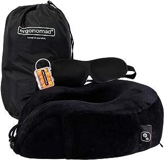 Almohada de Viaje Ergonomad 100% Espuma con Efecto Memoria - Kit Completo para avión con Antifaz para Dormir, Tapones para los oídos y Bolsa para Transporte - Fácil de Guardar