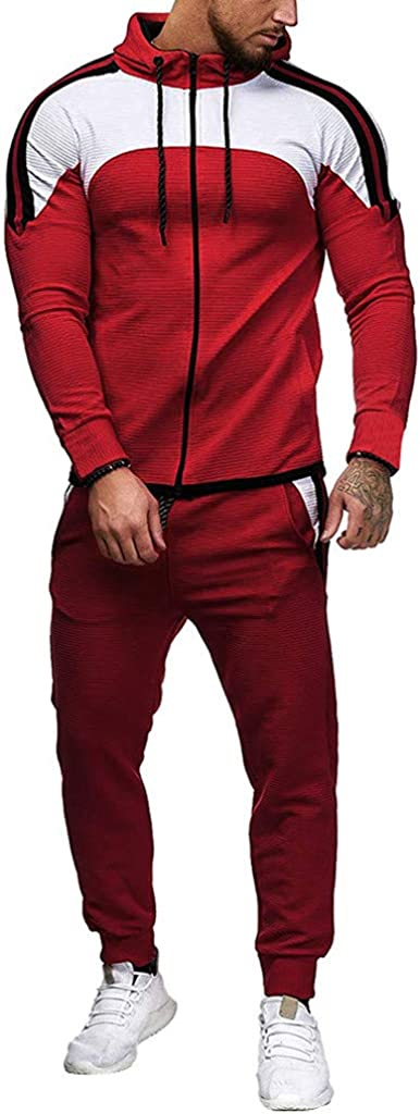 Mens Tracksuit Jogging Suit Big and Tall 2019 New Side Stripe Full Zip Casual Patchwork Sport Suit - Limsea