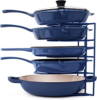 Pan Organizer for Cast Iron Skillets, Griddles and Pots - Heavy Duty Pan Rack - Holds Up to 50 LBS- Horizontal or Vertical...