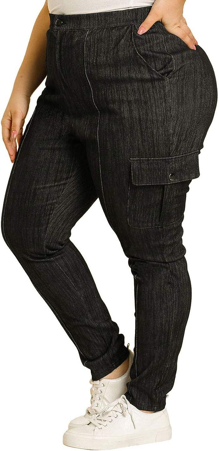 Agnes Orinda Women's Plus Size Denim Jean Casual Joggers Stretch Cargo Pants Skinny Jeans