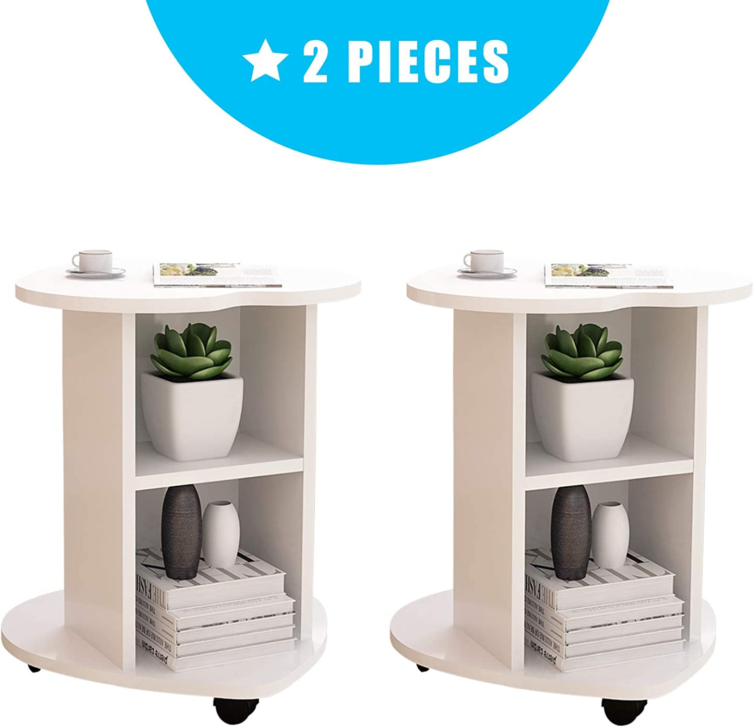 DL furniture - (Set of 2) Small Coffee Table Bedside Cabinet Sofa Small Side Table   White