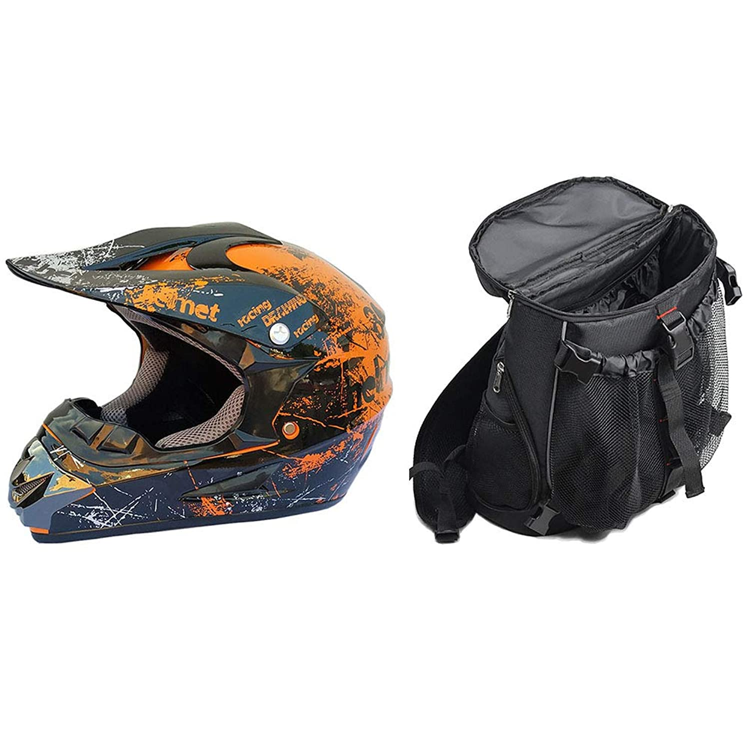 A-TSWB Off-Road/Motocross Helmet for Man Bicycle Helmet with Backpack Perfect Combination,S