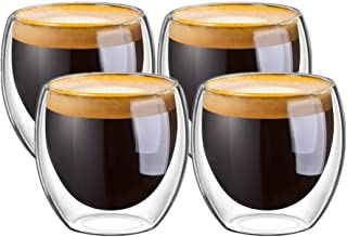 JinKen Espresso Cups, Cafe Latte Cups, Cappuccino Cups, Tea cups and Dessert Cups. 80 Milliliter/2. 7 Ounce Double Walled ...