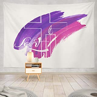 ONELZ Abstract Symbols Tapestry, Wall Hanging Tapestry, Abstract Symbols Purple Watercolor Cross and Candle Jesus Decor Collection Bedroom Living Room 60 L x 80 W Polyester Abstract Symbols
