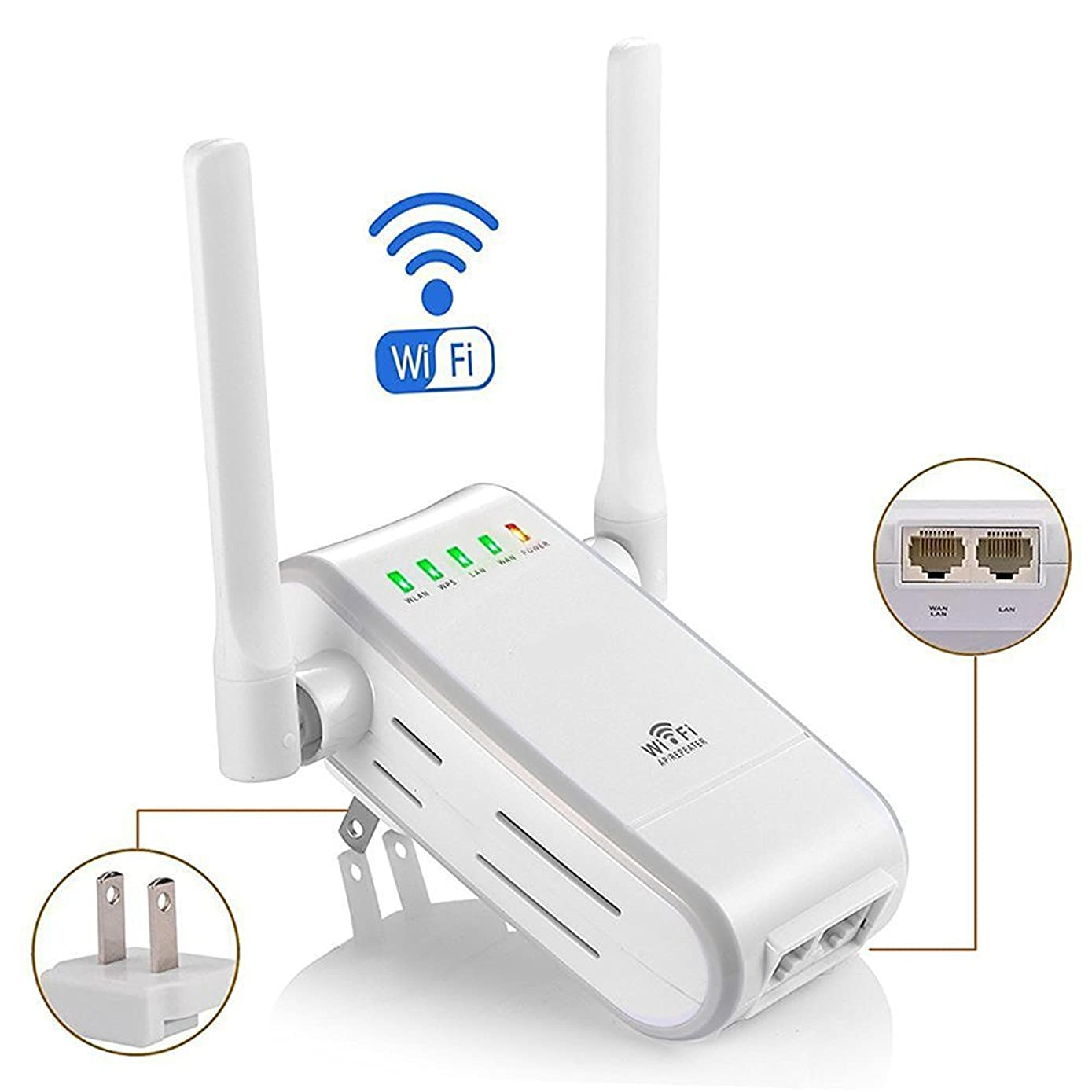 DHMXDC Wireless-N 300Mbps WiFi Range Extender Wireless Router/Repeater/AP/WPS Mini Dual External Antennas Wireless Booster Signal Wireless Access Point