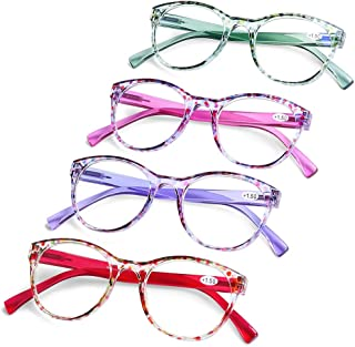 AQWANO 4 Pairs Round Blue Light Blocking Computer Reading Glasses Fashion Colorful Designer Readers Spring Hinge Glasses for Women, 2.0