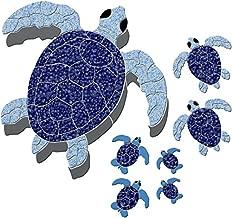 Turtle Group Ceramic Swimming Pool Mosaic (Blue)