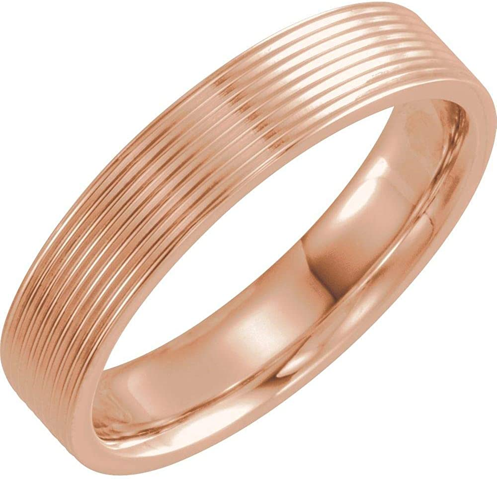 Solid 14k Rose Gold 6mm Ridged Wedding Band Ring Comfort Fit - Size 4