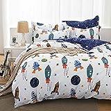 Qucover Bettwäsche Kinder 135x200cm Baumwolle Kinderbettwäsche Jungen Bettbezug mit Reißverschluss Wendedesign Weiß Blau Rakete Sterne Planeten Muster mit Kissenbezug 80x80cm