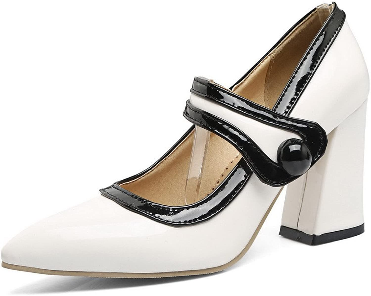 WeenFashion Women's Buckle Patent Leather High-Heels Soild Court shoes