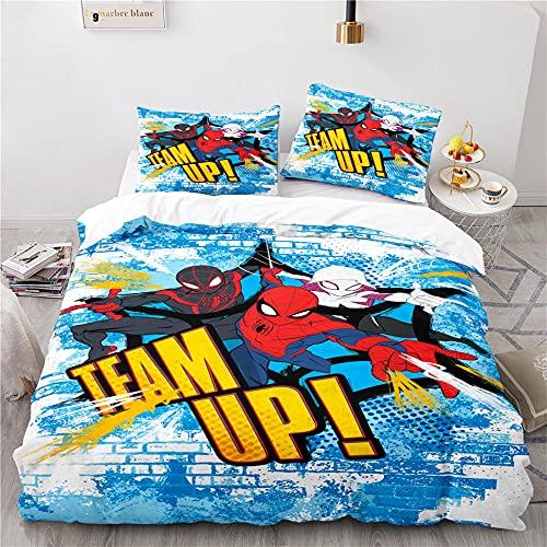 135 X 200 Cm Funda Nordica 1 Persona Spiderman Avengers Superheroes Funda Nórdica 135X200 Microfibra Suave De Calidad Hotelera con Cremallera Y 2 Fundas De Almohada De 40X75Cm