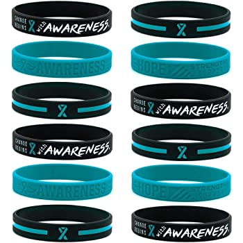 (12-Pack) Teal Awareness Ribbon Bracelets, Variety Pack - Wholesale Bulk Pack of 12 Silicone Rubber Wristbands to Symbolize Hope, Courage, Strength, and Support - Unisex for Men Women Teens