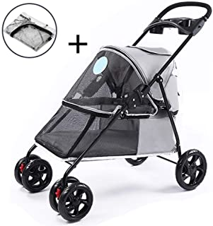 Pet stroller Pet Stroller,Pet Stroller with Rain Cover, Four-Wheeled Pet Stroller,Lightweight Pet Stroller, with Storage Basket and Cup Holder,Pet Supplies (Color : Gray)