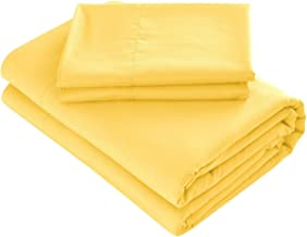Prime Bedding Bed Sheets - 4 Piece Queen Sheets, Deep Pocket Fitted Sheet, Flat Sheet, Pillow Cases - Queen Sheet Set, Bright Yellow
