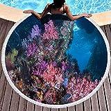 Hancal Toallas de Playa Redondas Toalla de Playa Fun, Arrecife de Coral Corriente Debajo de Las Ventanas Boo Pasaje de la Pared subacuática Constant An Raja Ampat Indonesia 59 '