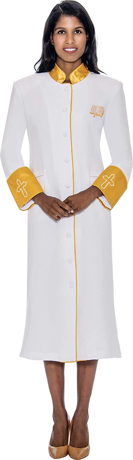 Elegant gold Lined Cassock Robe   gold Collar   Embroidered White Cross on The Cuff   RR9001