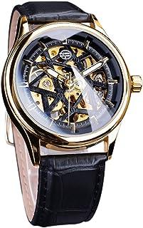 Fashion Hollow Skeleton Mechanical Watch Men Luxury PU Leather Band Wrist Watch