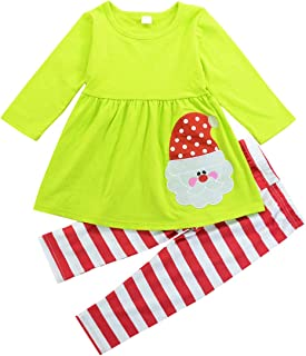 1-6T Christmas Toddler Baby Girls Cotton Outfit Long Sleeve Shirt Striped Pants 2Pc Set Spring Clothes