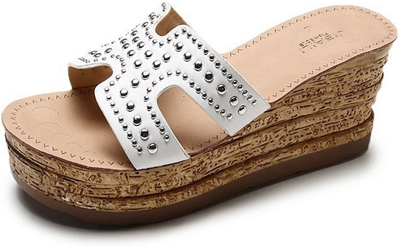 CYBLING Women's Platform Slide Sandals Notch Cut-Outs Slip on Wedge Sandal Summer Beach shoes