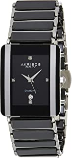Akribos XXIV Men's Rectangular Diamond Watch - 4 Genuine Diamond Hour Markers with Date Window On Ceramic Inner Link Bracelet - AK521