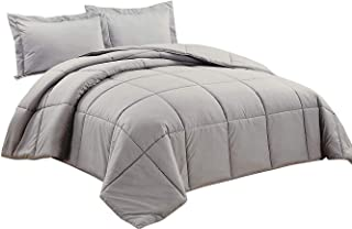 Chezmoi Collection 3-Piece Down Alternative Comforter Set (Oversized King, Paloma Gray)