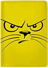 Kuizee Passport Holder Cartoon Unhappy Cat Face Leather Passport Cover Trave Wallet Case 4.5 x 6.5 Inch
