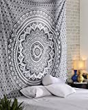 Grauer Ombre Wandteppich - Königingröße 228 x 213 cm Mandala Wandbehang Indischer Mandala Hippie Böhmische Tagesdecke Raumdekor Indische Wandteppiche