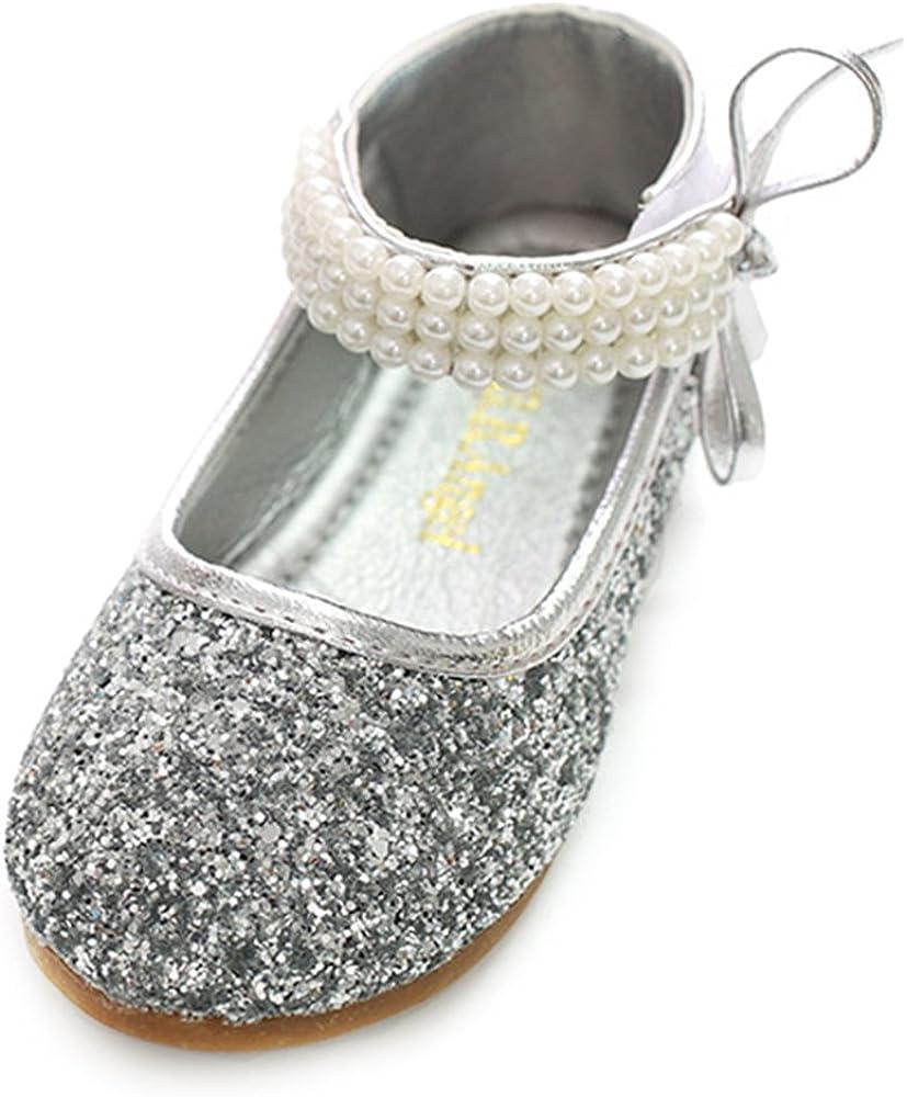 YING LAN Girl Round-Toe Sparkle Bowknot Ballet Ballerina Flat Princess Wedding Shoes Mary Janes
