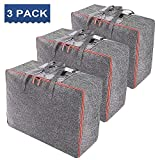 Vieshful Large Capacity Clothes Storage Bag Organizer with Reinforced Handle Underbed Storage (3 Pack - Long Handle)