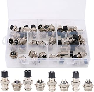 Hilitchi 40-Pieces 2 3 4 5 Pin 16mm Thread Male Female Panel Metal Aviation Wire Wire Connector Plug Assortment Kit (2 Pin / 3 Pin / 4 Pin / 5Pin)