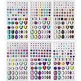 YOUYIKE® autoadesiva con Strass Sticker 486 Pezzi in 5 Dimensioni 15 Colori Bling Gioielli Artigianali Gem Stickers for Crafts, Body, Unghie Fai da Te, Festival, Carnevale, Trucco.