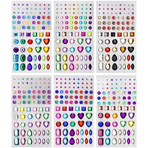 Unique Store autoadesiva con Strass Sticker 486 Pezzi in 5 Dimensioni 15 Colori Bling Gioielli Artigianali Gem Stickers for Crafts, Body, Unghie Fai da Te, Festival, Carnevale, Trucco.