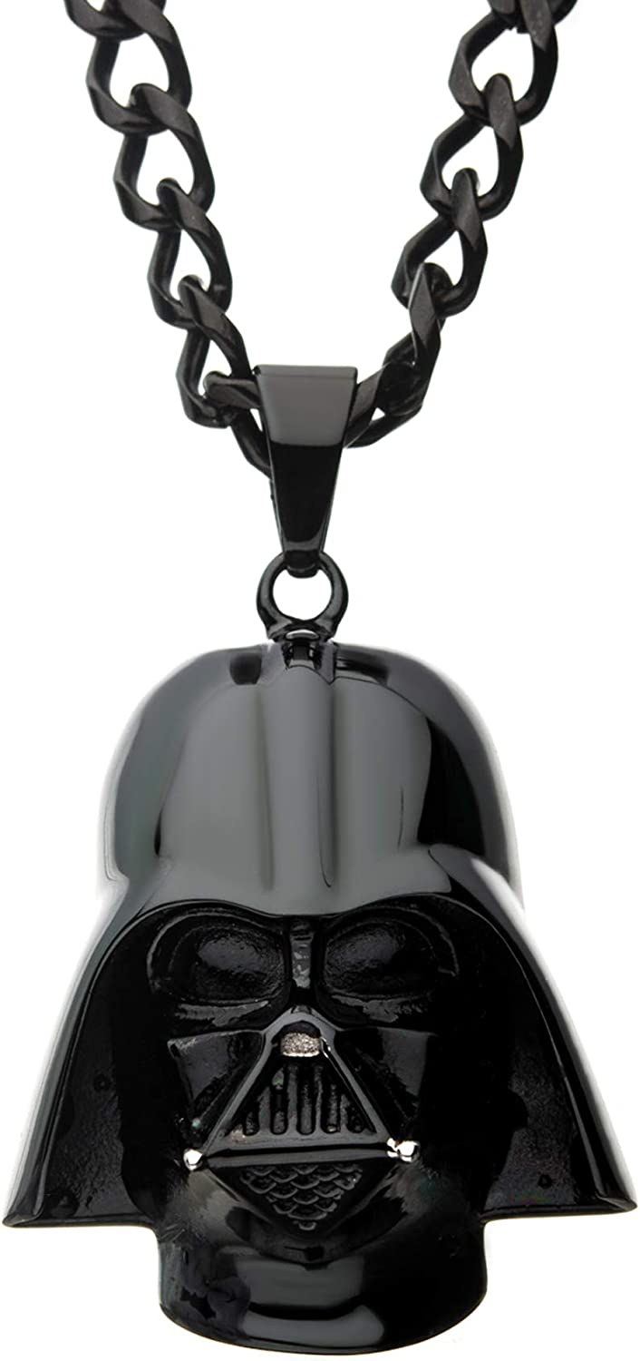 Star Wars Jewelry Unisex 3D Darth Vader Black Ion-Plated Stainless Steel Pendant Necklace, 24
