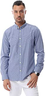 Andora Gingham Plaid Pattern Round Hem Button-Down Cotton Shirt for Men