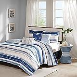 Blue Watercolor, Cottage, Beach House, Coastal Full / Queen Quilt Shams & Toss Pillows (6 Piece Bed In A Bag) + HOMEMADE WAX MELT