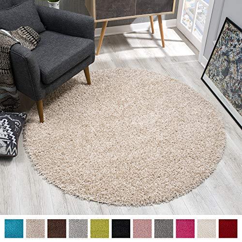 SANAT Teppich Rund - Beige Hochflor, Langflor Modern Teppiche fürs Wohnzimmer, Schlafzimmer, Esszimmer oder Kinderzimmer, Größe: 150x150 cm