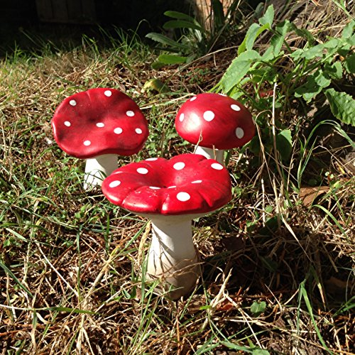 Mushroom/toadstool set of 3 - ideal for outside fairy gardens, pixies, elves and gnomes