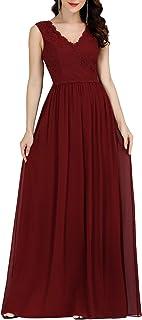 Ever-Pretty Vestito da Cerimonia Donna Scollo a V Linea ad A Pizzo Chiffon Stile Impero Lungo 07676