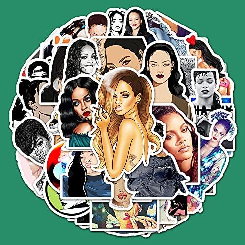 XIAMU Cantante Rihanna Graffiti Pegatinas de Dibujos Animados DIY portátil Equipaje monopatín decoración de Coche Pegatinas 50 Piezas