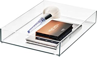 """iDesign Signature Series by Sarah Tanno Cosmetic Drawer Organizer, 8"""" x 12"""" x 2"""", Clear/Matte White"""