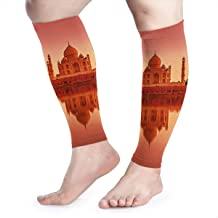 EBUDUg1345 Sports Calf Compression Sleeve,Flexible Breathable Comfortable Art Decoration Suitable for Men and Women Running, Tibial Splint, Travel, Bicycle-Taj Mahal India Sunset