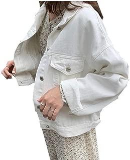 Macondoo Women's Lapel Neck Button Oversize Casual Coat Denim Jackets with Pocket