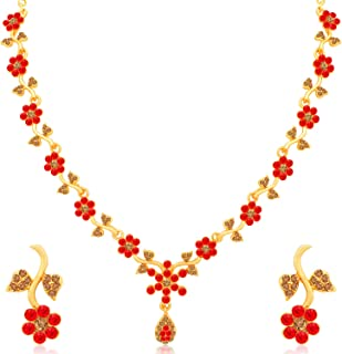 Sukkhi Incredible Gold Plated Wedding Jewellery LCT and Red Stone Floral Necklace Set for Women (N79730_D1)