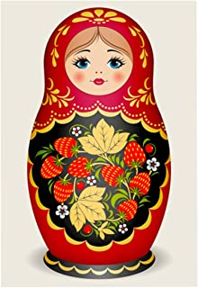 TINMI ARTS 5D DIY Diamond Painting by Number Kits for Adults Cross Stitch Rhinestone Embroidery Home Wall Decoration Russian Doll Matryoshka, 30x40cm (red)