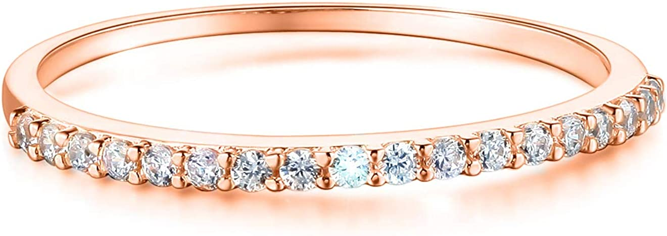 Wellingsale Ladies Solid 14k Yellow -OR- White -OR- Rose Gold Polished CZ Cubic Zirconia Wedding Band