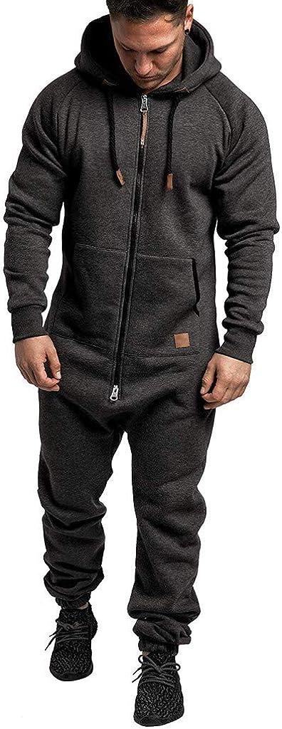 OMINA Mens Rompers for Adults Stylish Casual Slim Fit Sweatshirts Hoodies Sweatpants Jumpsuit
