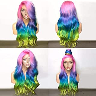 BlueSpace Synthetic Wigs Rainbow Color Long Curly Wave Wig Ombre Side Part Anime Cosplay Halloween Costume Wig with Free Wig Cap for Women