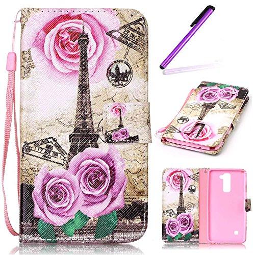 EMAXELERS LG Stylus 2 Hülle Elegant Cute PU Leder Lederhülle Flip Tasche Wallet Schutzhülle Etui Bookstyle Handyhülle Hülle für LG G Stylo 2 K520 / LS775,Pink Rose Flowers und Effile Tower